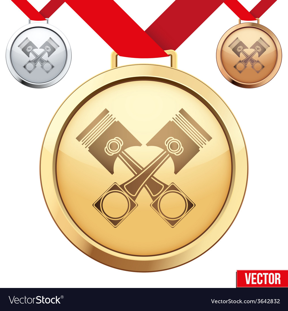Gold medal with the symbol of pistons inside vector | Price: 1 Credit (USD $1)