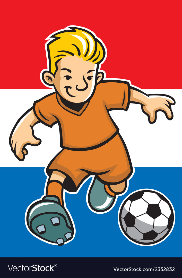 Holland soccer player with flag background vector | Price: 1 Credit (USD $1)