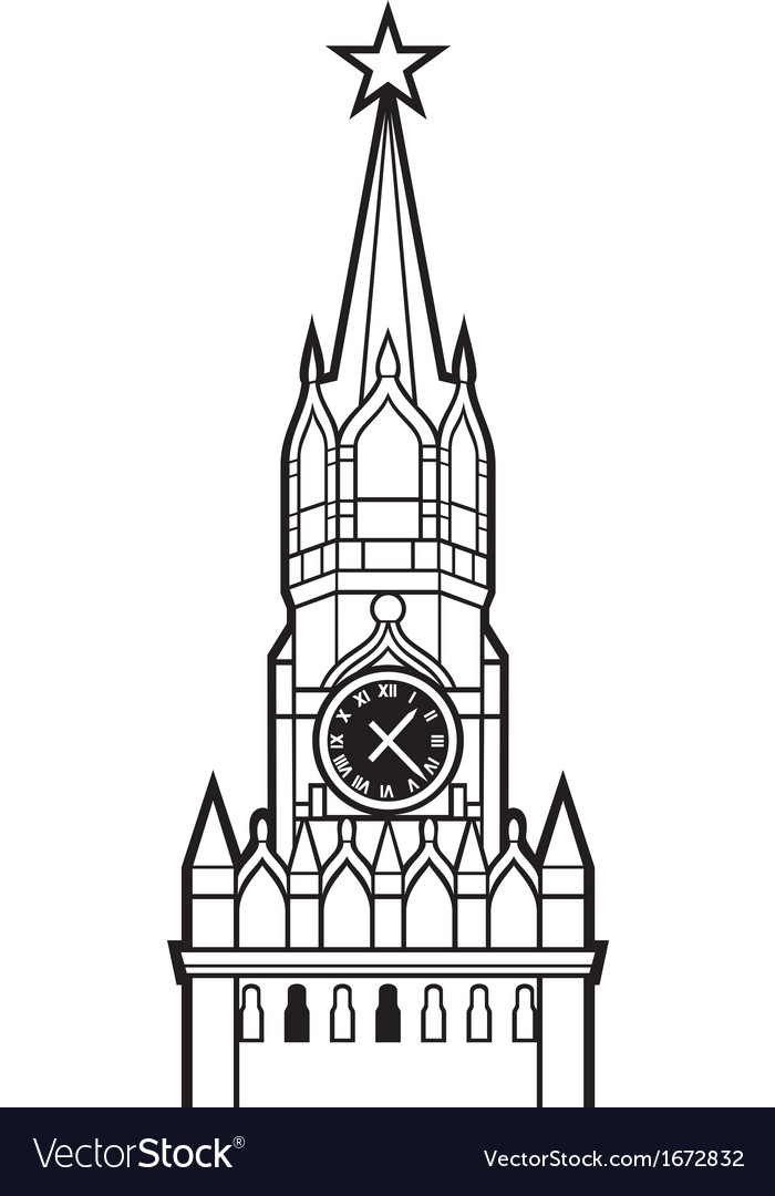 Kremlin tower with clock in moscow russia vector | Price: 1 Credit (USD $1)