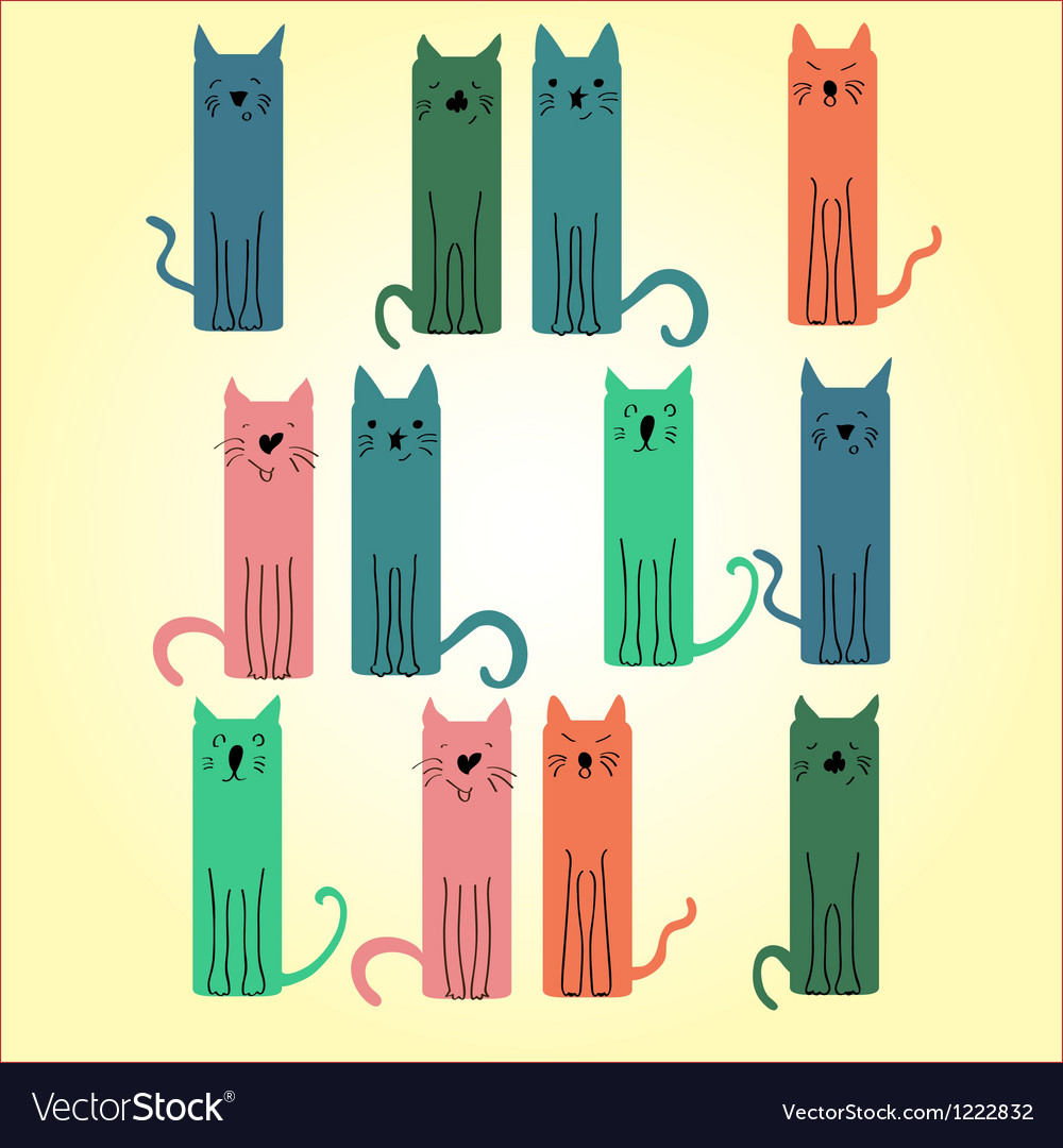 Many colored cat on a light background vector | Price: 1 Credit (USD $1)
