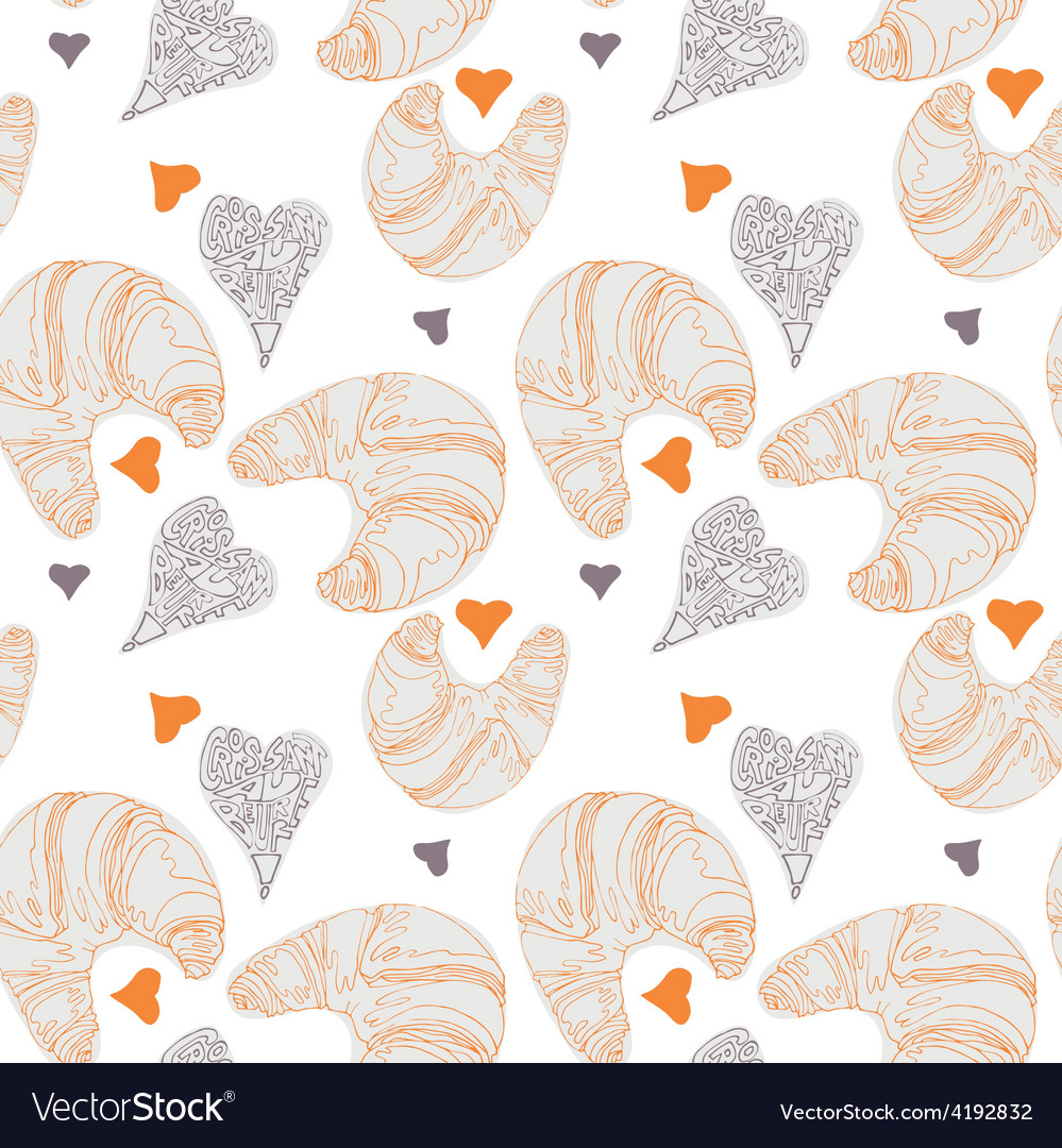 Seamless pattern with croissants vector | Price: 1 Credit (USD $1)