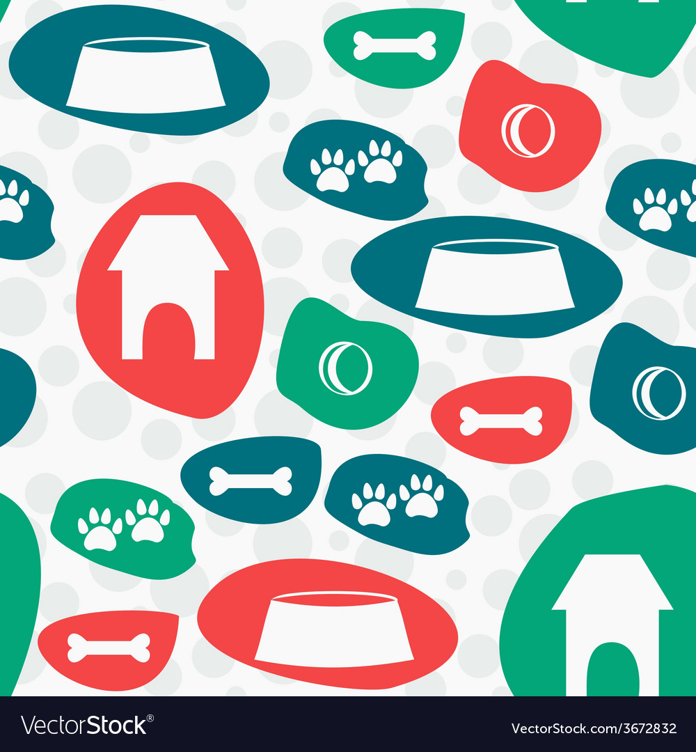 Seamless pattern with dogs stuff background vector | Price: 1 Credit (USD $1)
