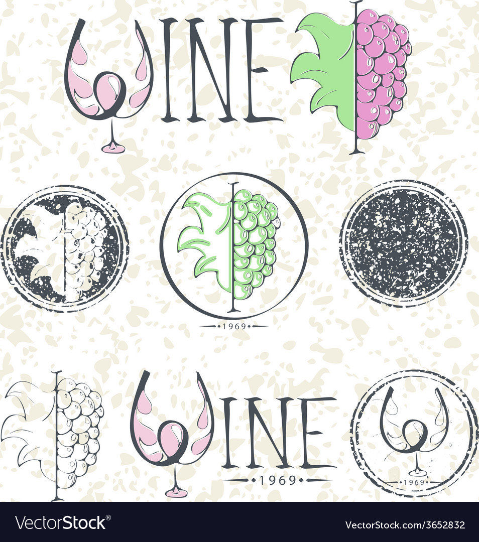 Set labels wine with grapes lettering and logo vector | Price: 1 Credit (USD $1)