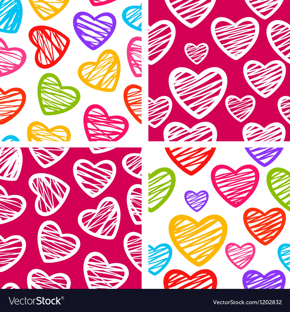 Set of four seamless patterns with sketchy hearts vector | Price: 1 Credit (USD $1)