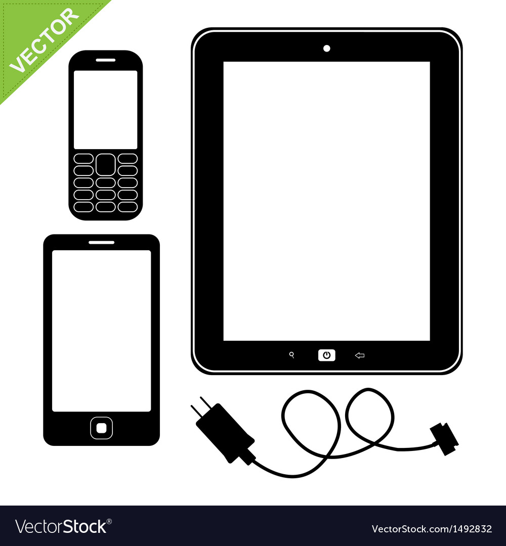 Smart phone mobile and tablet silhouette vector | Price: 1 Credit (USD $1)