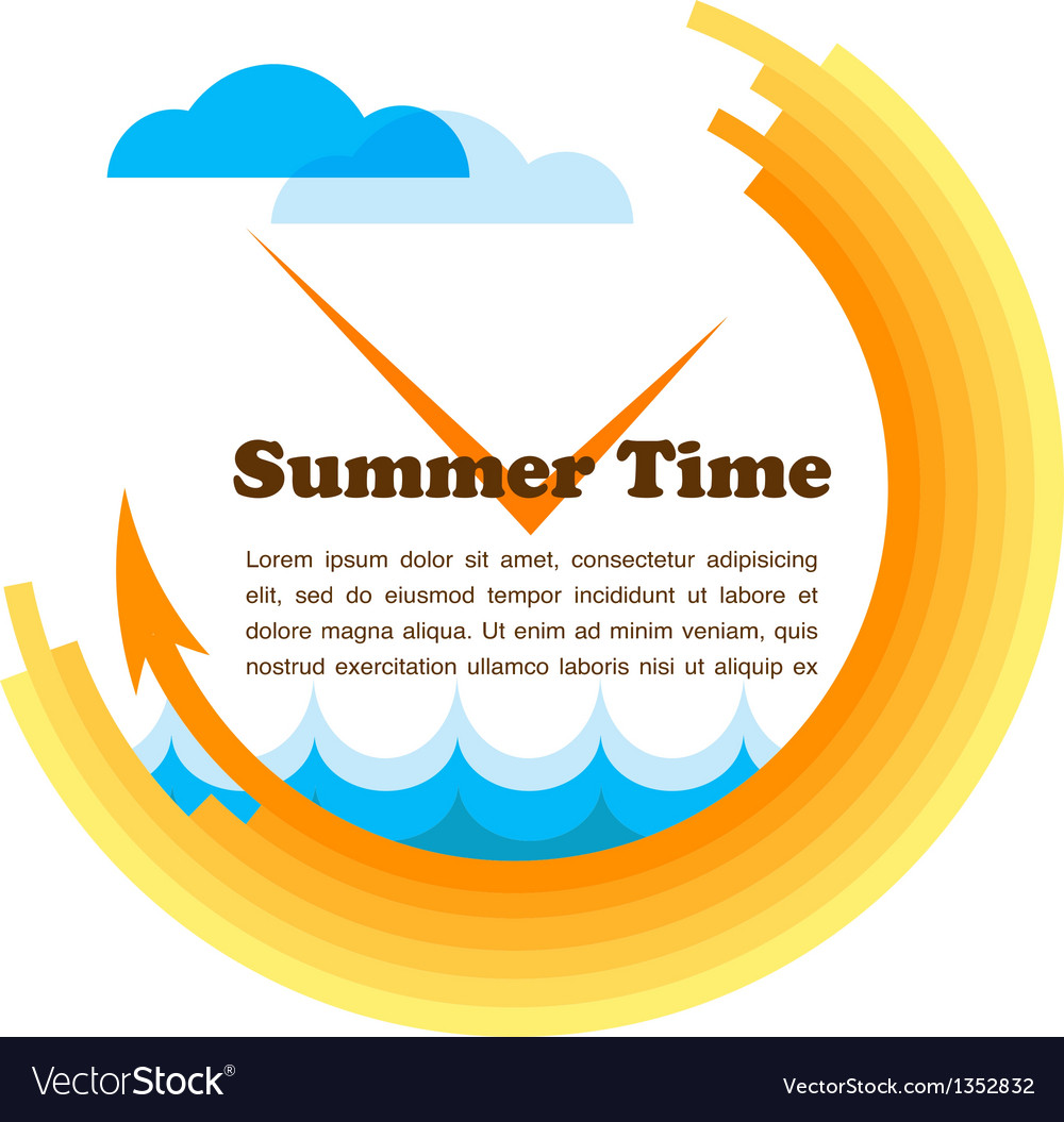 Summer time yellow clock with place for your text vector | Price: 1 Credit (USD $1)