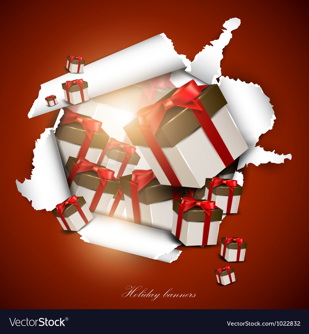 Torn paper with gift boxes holiday background vector | Price: 1 Credit (USD $1)