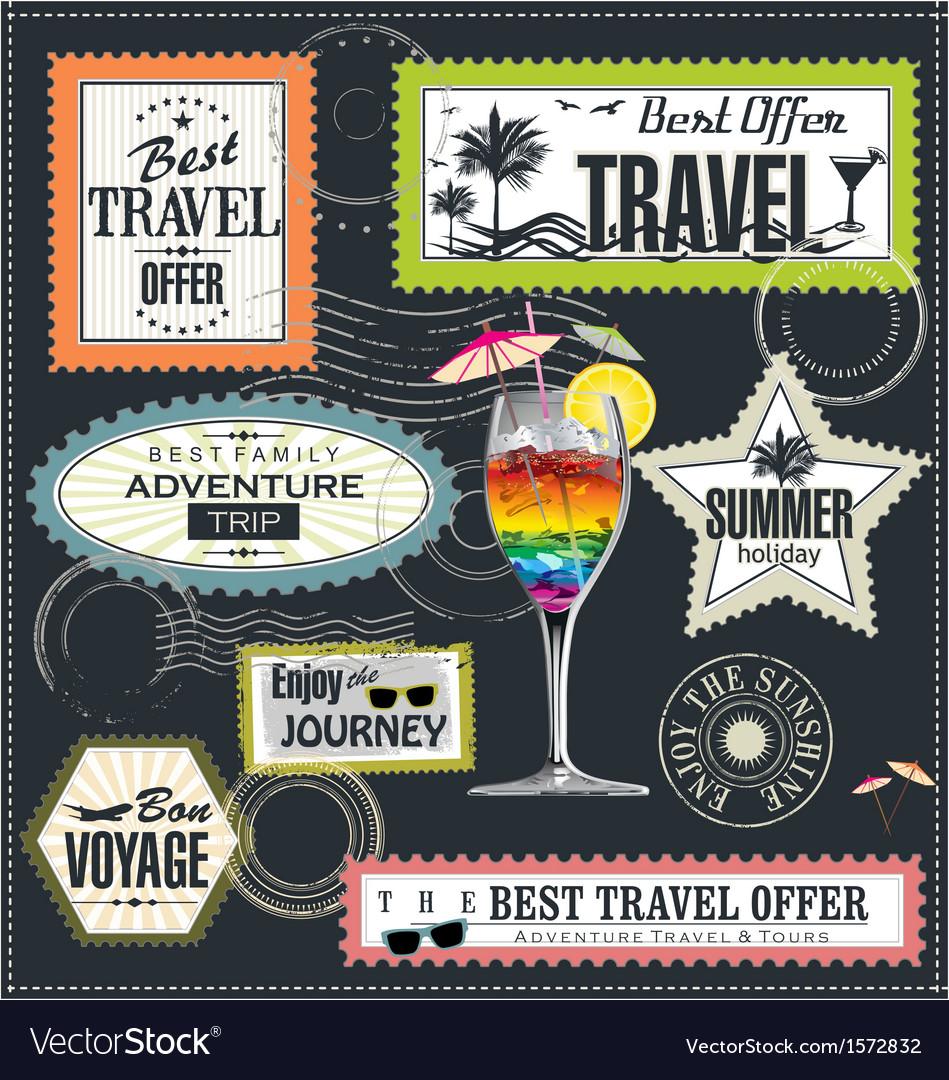 Travel post stamp set vector | Price: 3 Credit (USD $3)