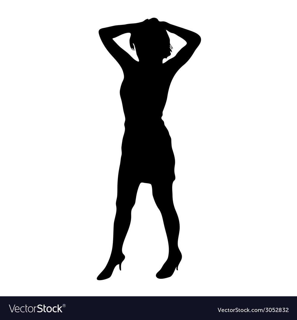 Young girl posing black silhouette vector | Price: 1 Credit (USD $1)