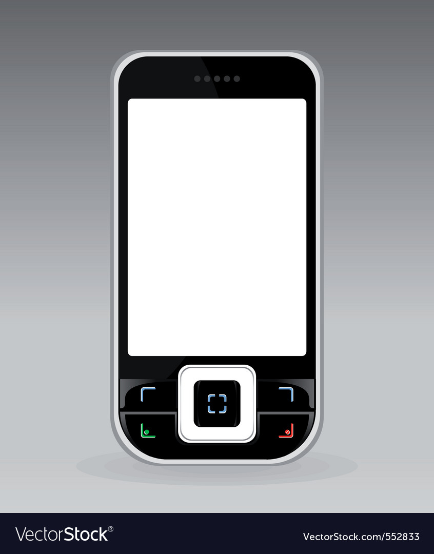Black cellular telephone with the white screen a v vector | Price: 1 Credit (USD $1)