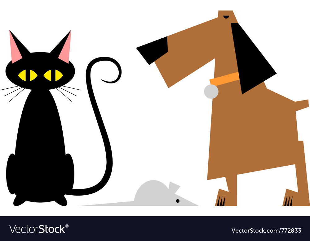 Figure cat dog and mouse vector | Price: 1 Credit (USD $1)