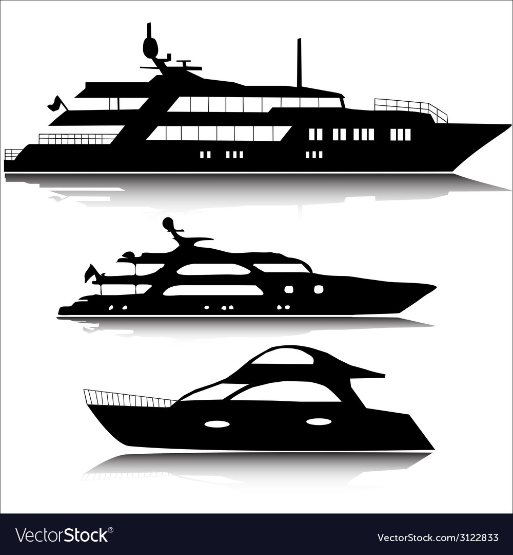 Large yachts silhouettes vector | Price: 1 Credit (USD $1)