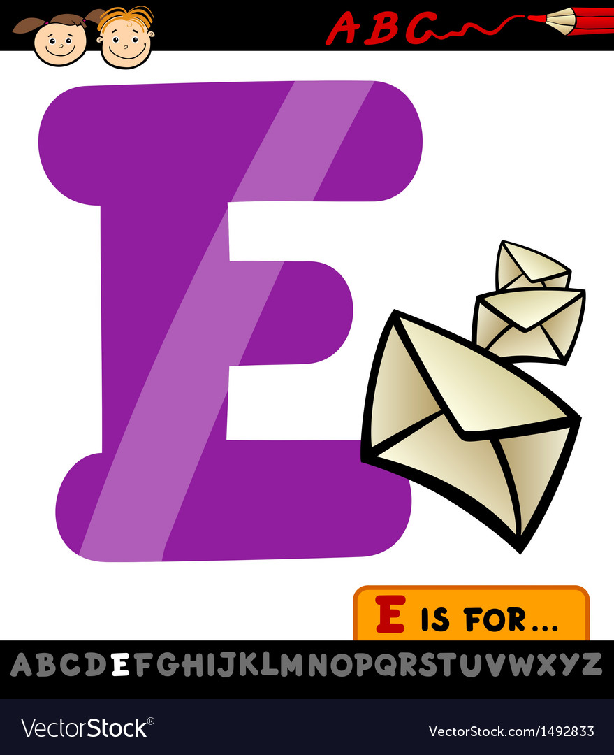 Letter e with envelope cartoon vector | Price: 1 Credit (USD $1)