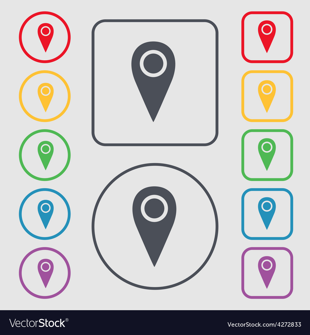Map pointer icon sign symbol on the round and vector   Price: 1 Credit (USD $1)