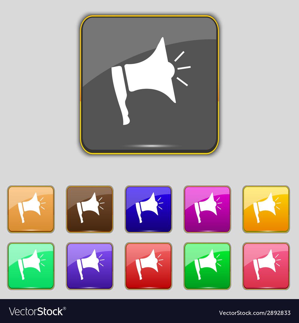 Megaphone soon icon loudspeaker symbol set colur vector   Price: 1 Credit (USD $1)