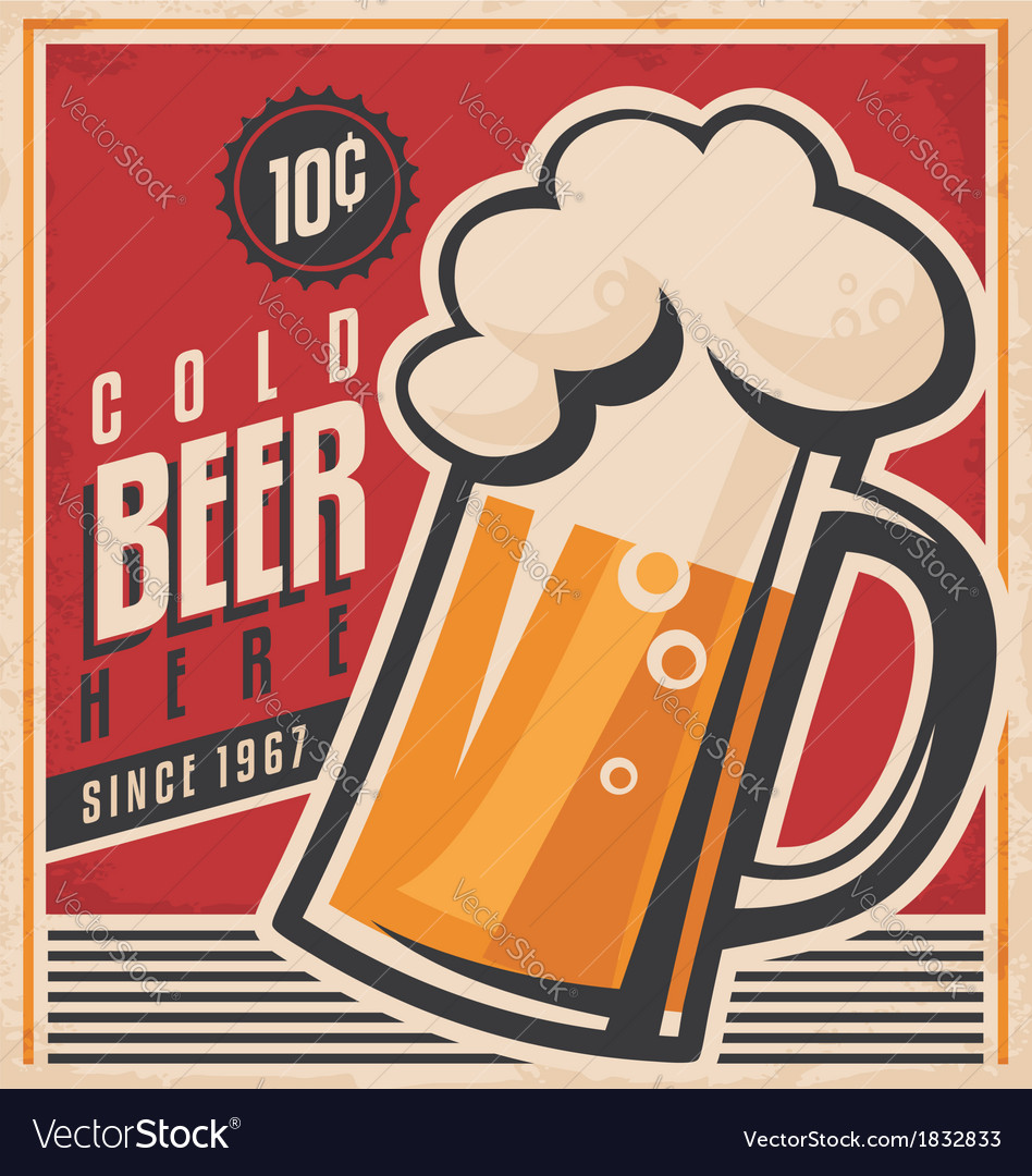 Retro beer poster vector | Price: 1 Credit (USD $1)