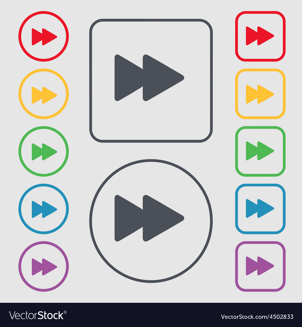 Rewind icon sign symbol on the round and square vector | Price: 1 Credit (USD $1)