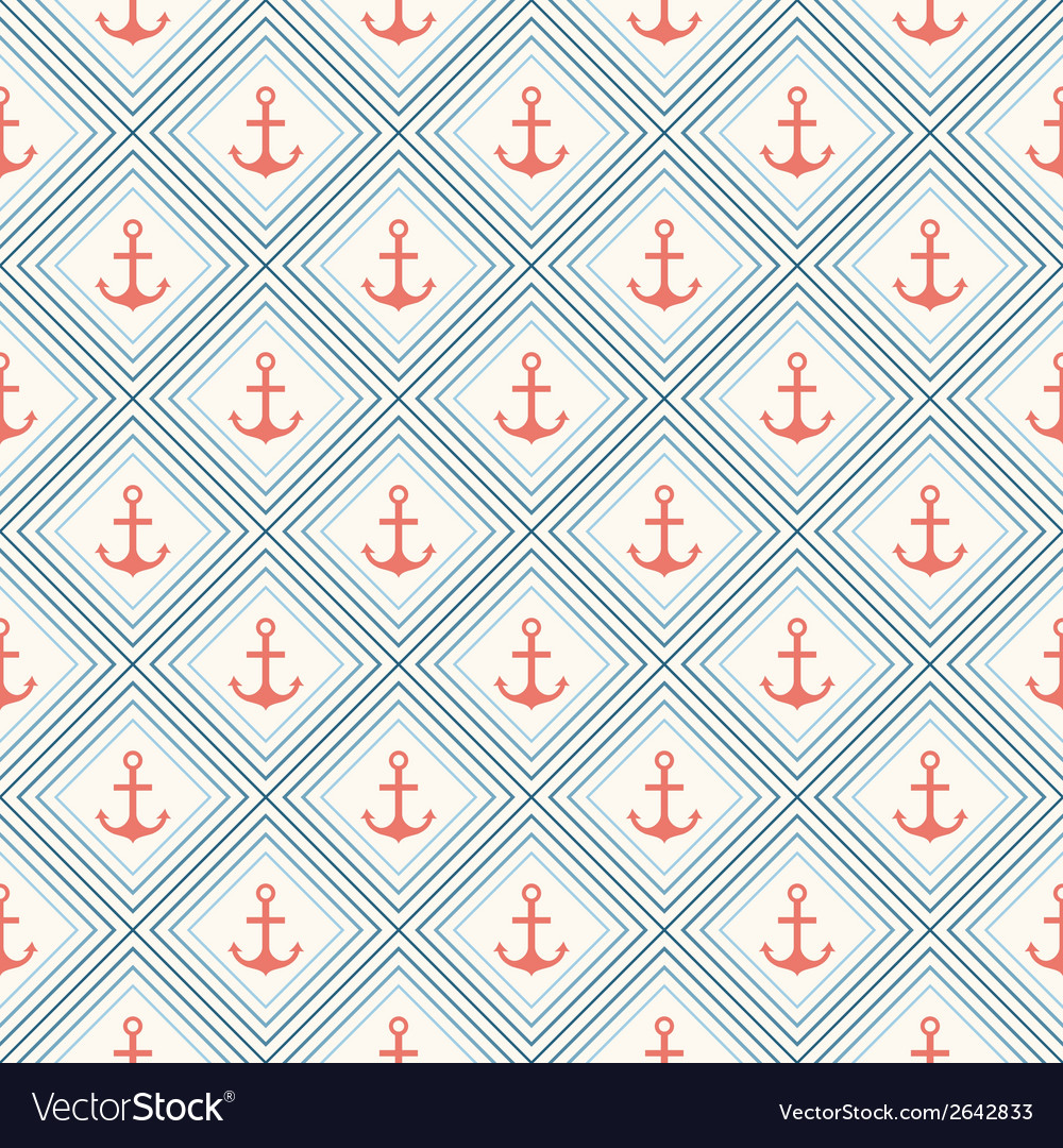 Seamless pattern of anchor shape and line vector | Price: 1 Credit (USD $1)