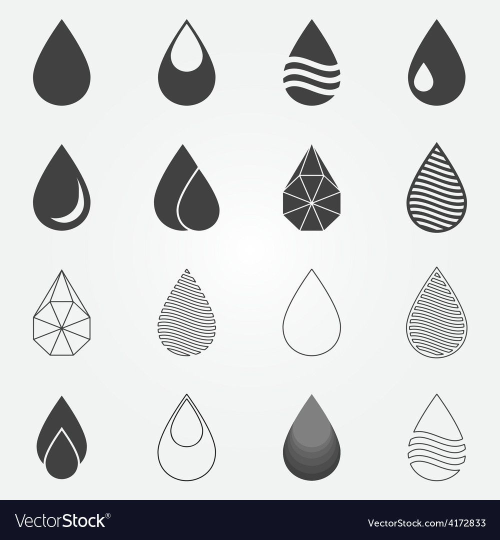 Water drops icons set vector | Price: 1 Credit (USD $1)