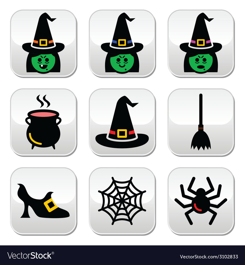 Witch halloween buttons set vector | Price: 1 Credit (USD $1)
