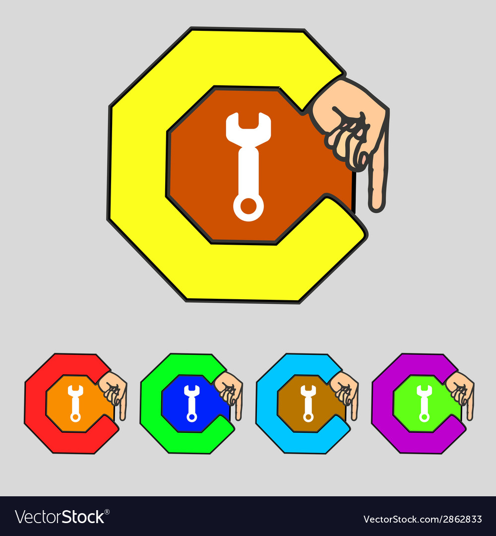 Wrench key sign icon service tool symbol set vector | Price: 1 Credit (USD $1)