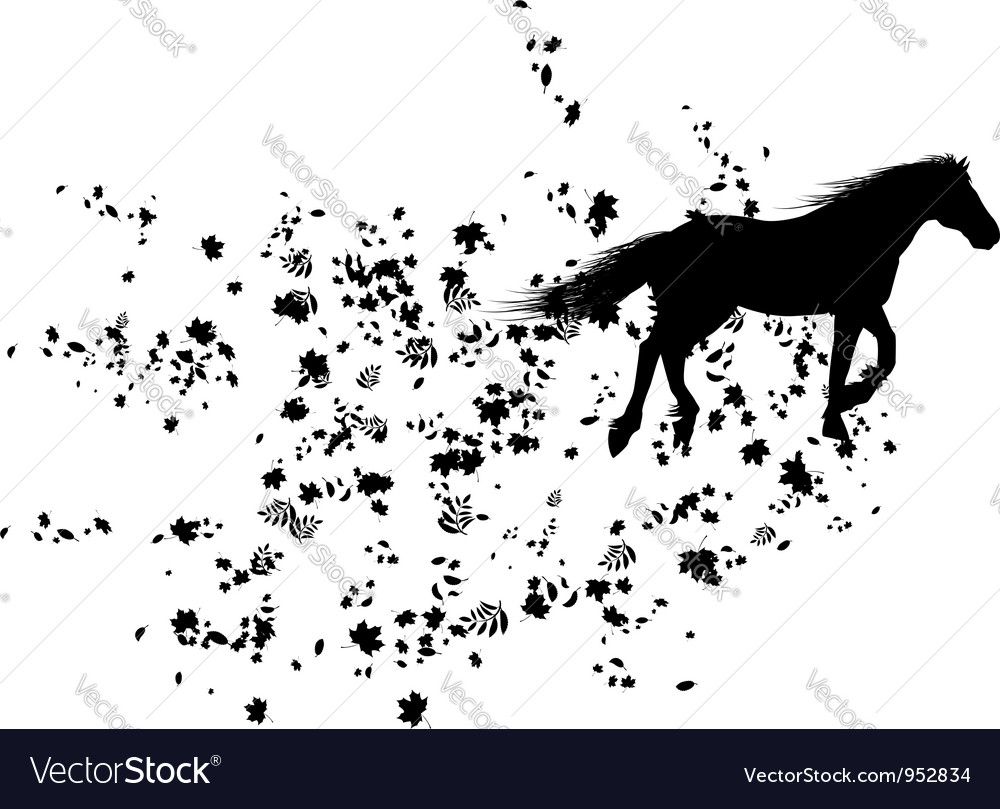 Autumnal background with horse vector   Price: 1 Credit (USD $1)