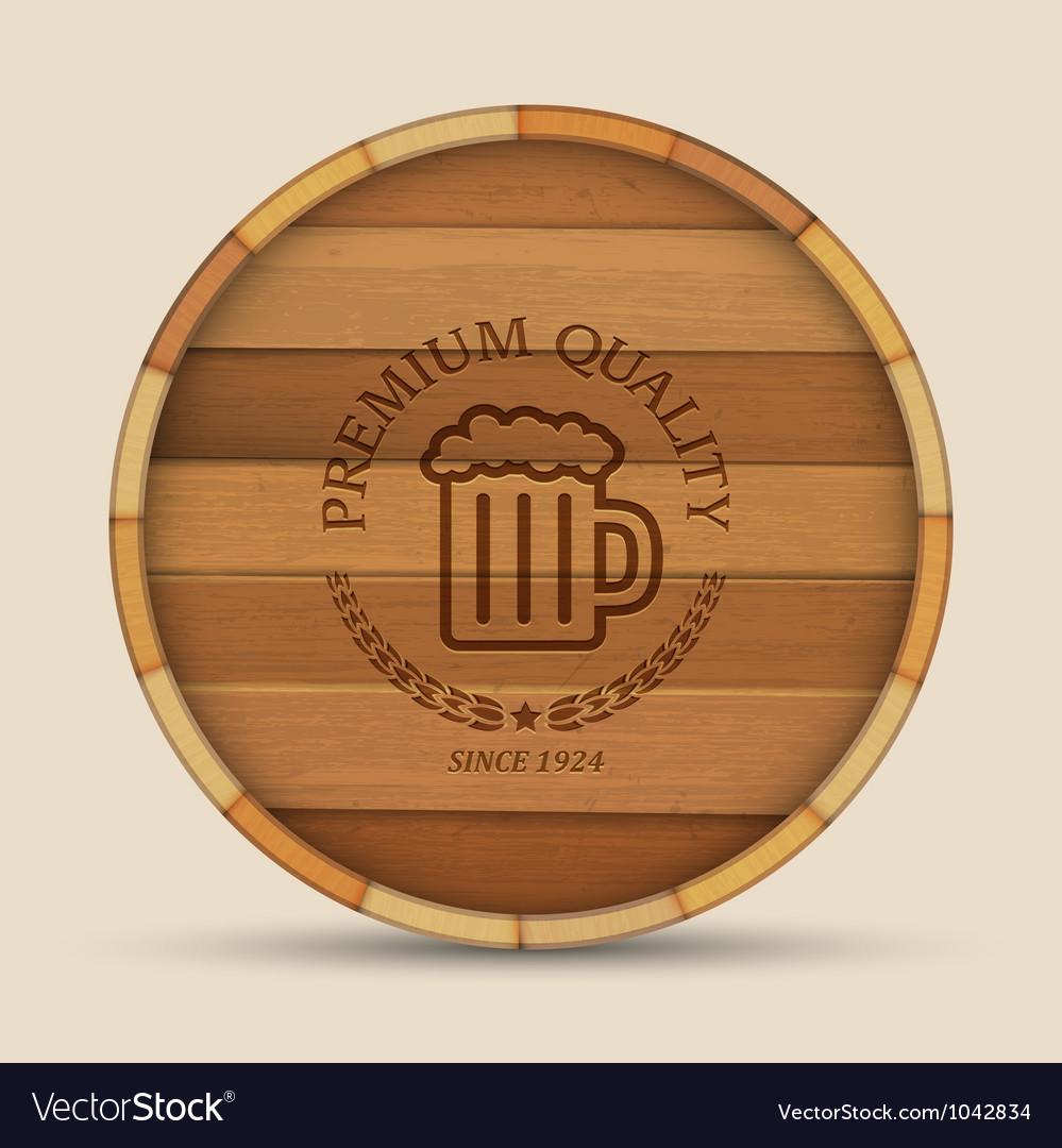 Beer label in form wooden barrel vector | Price: 1 Credit (USD $1)