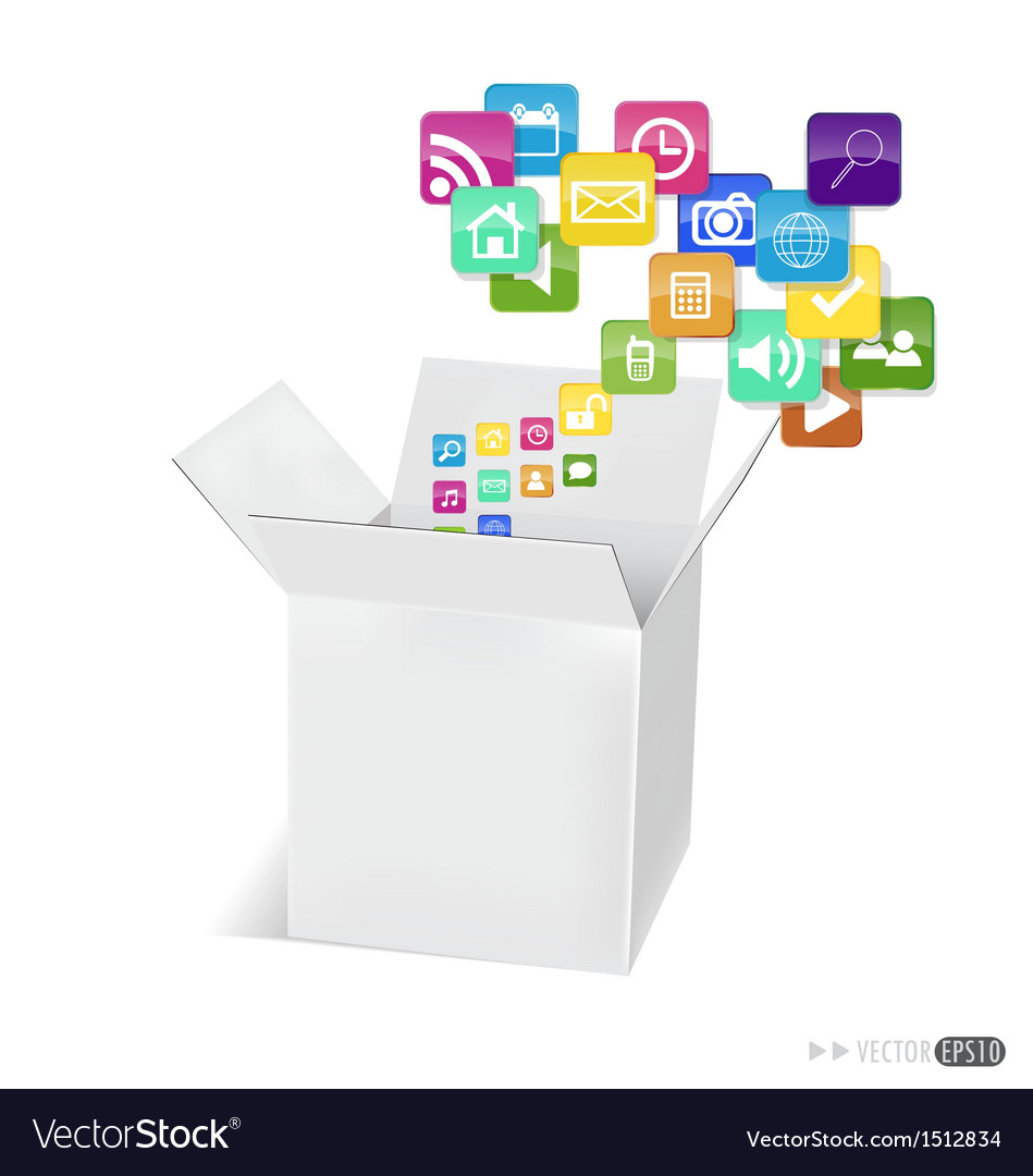 Box with application icons vector | Price: 1 Credit (USD $1)
