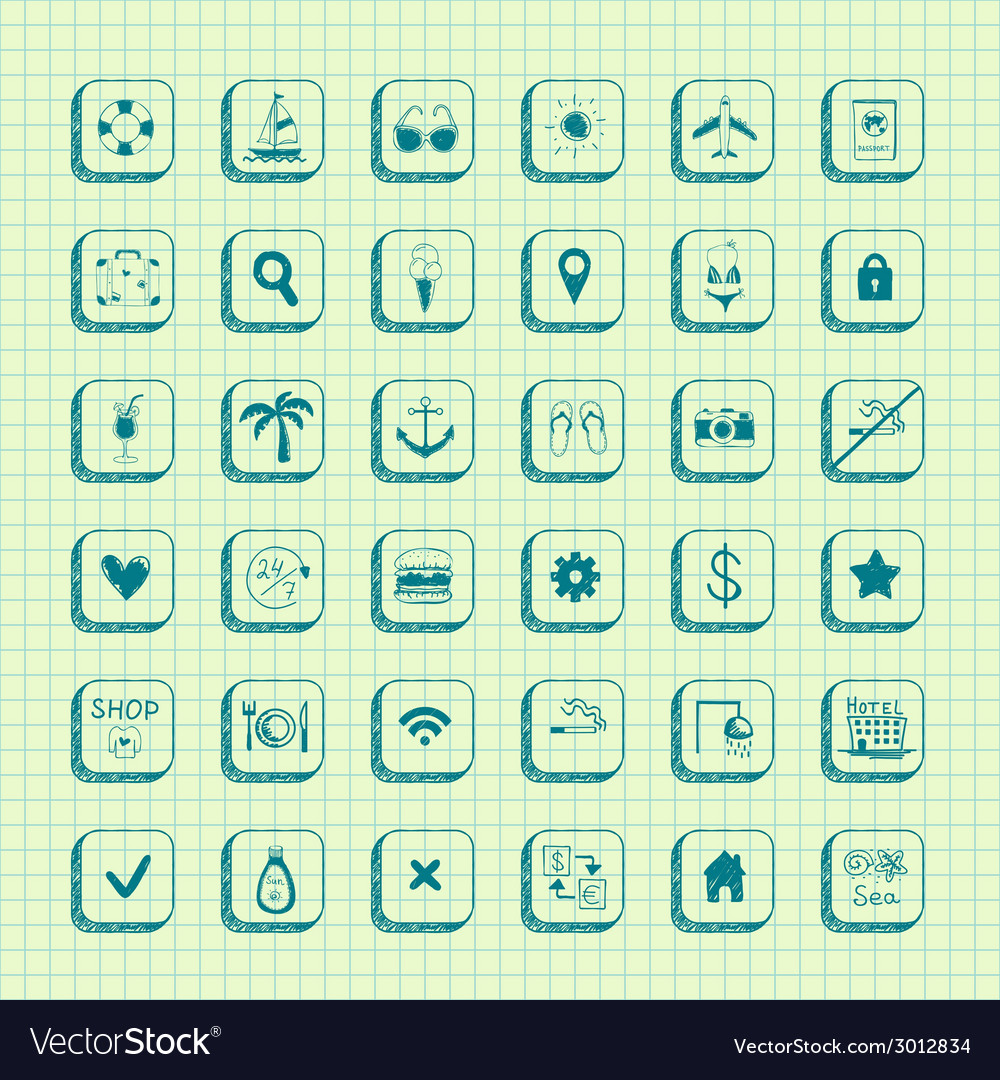 Collection of travel icons vector   Price: 1 Credit (USD $1)