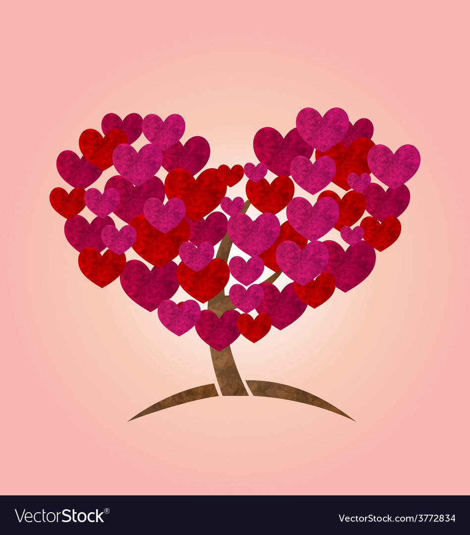 Concept of tree with heart leaves for valentines vector   Price: 1 Credit (USD $1)