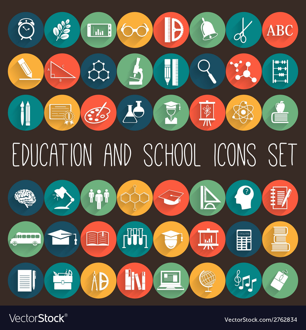 Education school flat icon set vector