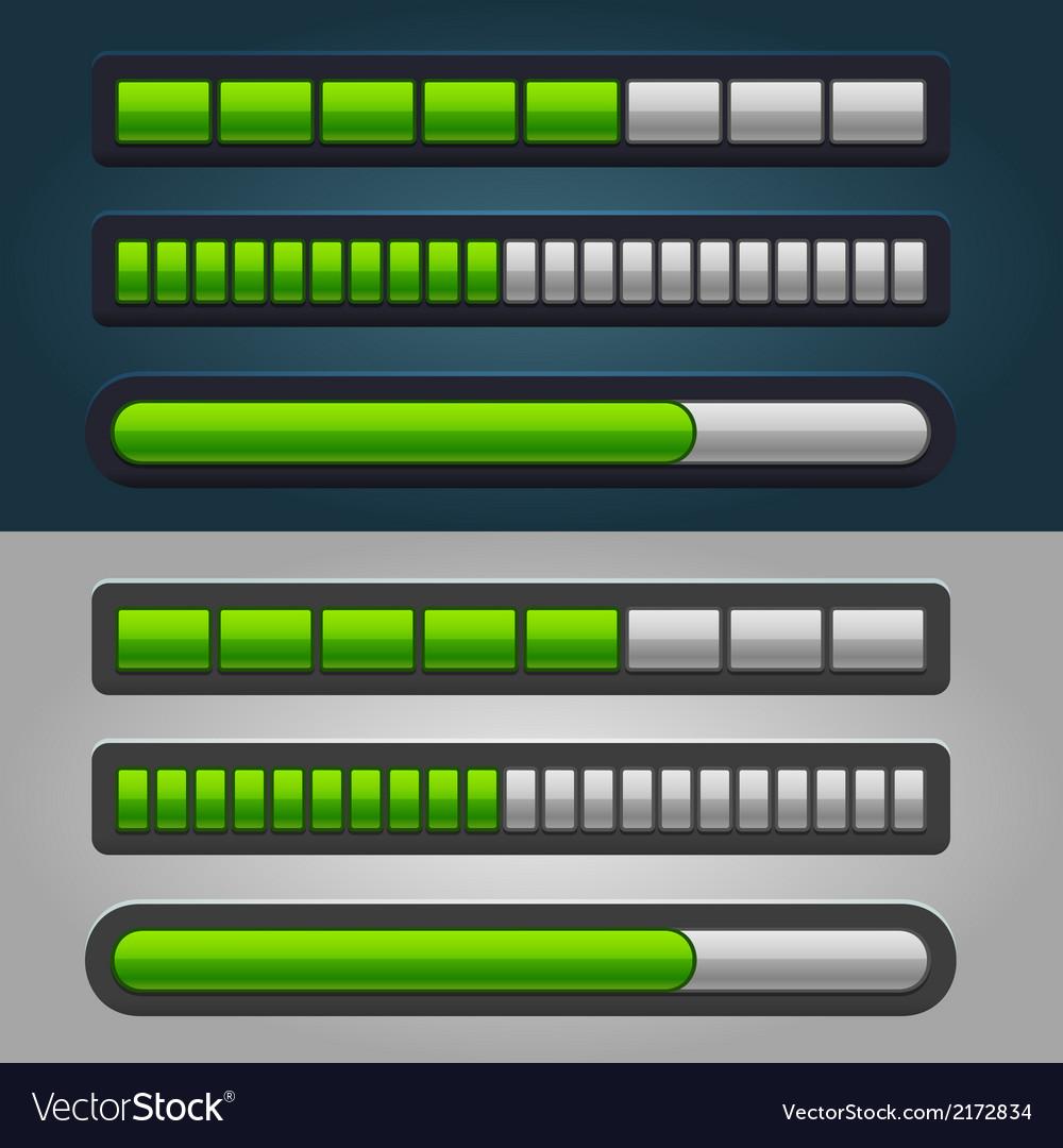 Green striped progress bar set vector   Price: 1 Credit (USD $1)
