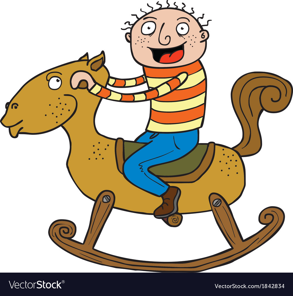 Kid and rocking horse vector | Price: 1 Credit (USD $1)