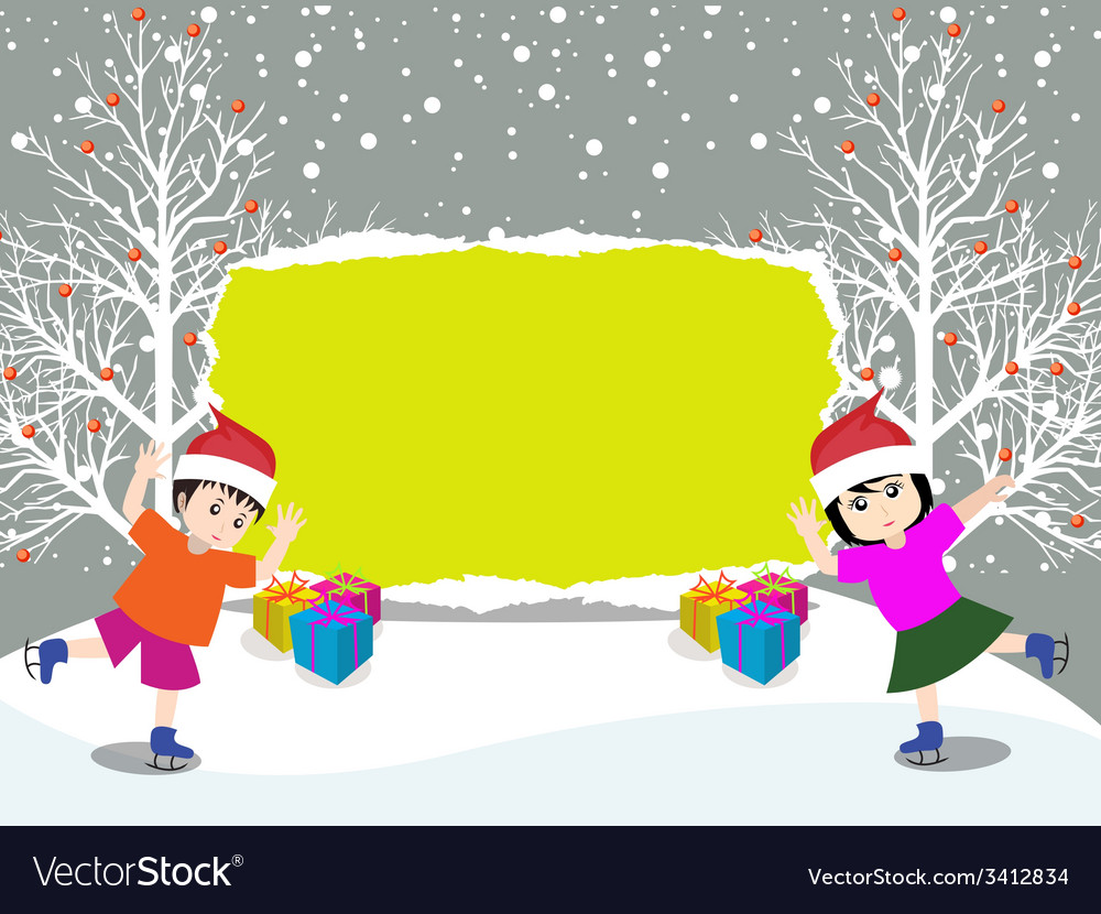 Merry christmas with happy kids vector | Price: 1 Credit (USD $1)