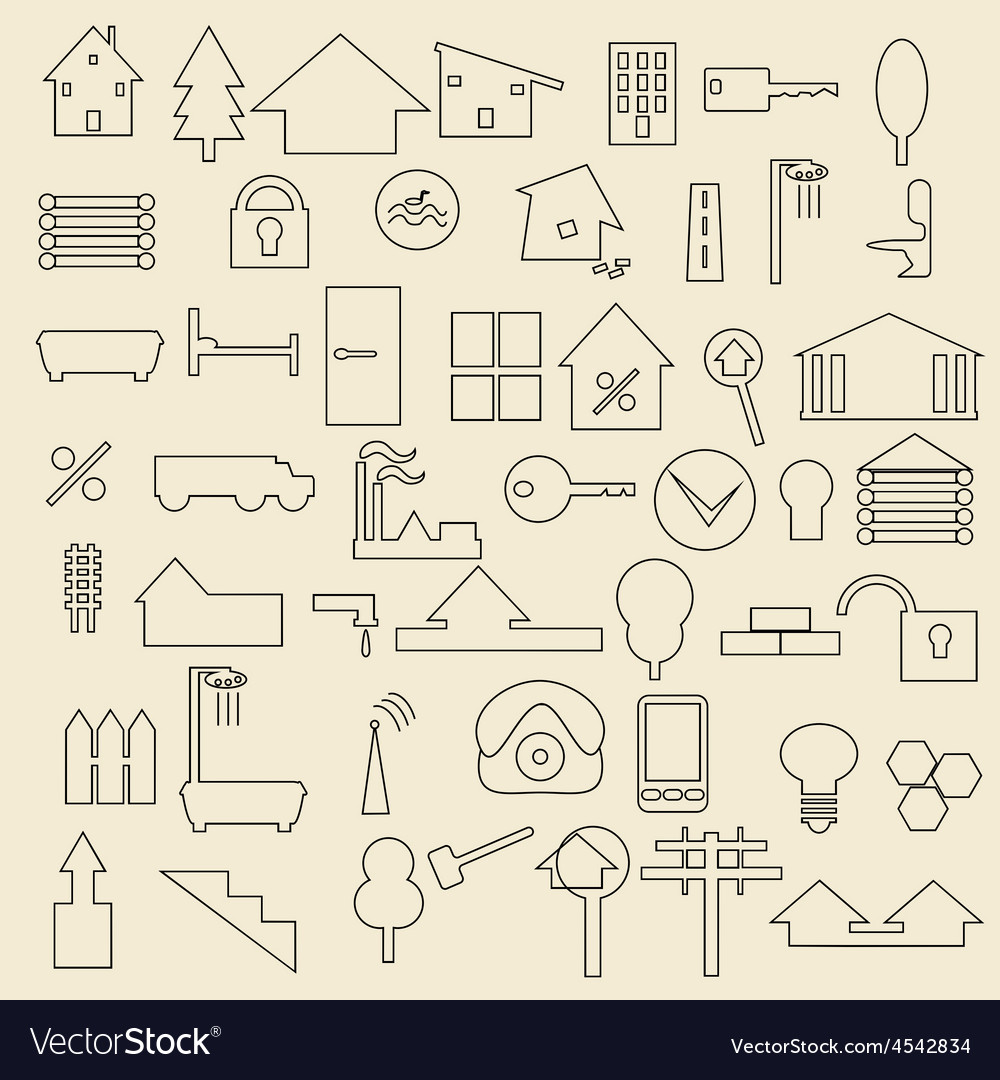 Real estate items linear icons vector