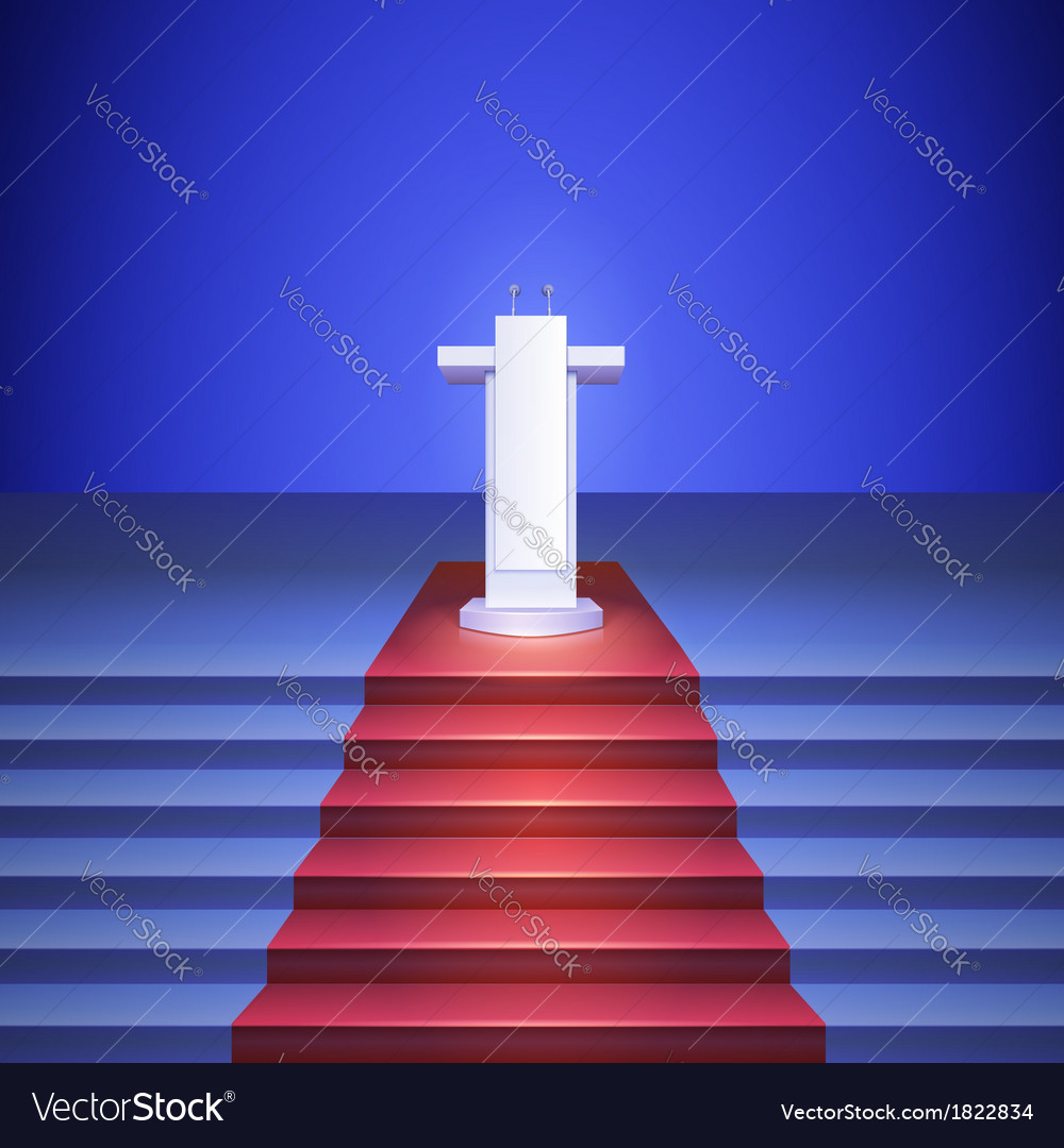 Scene with tribune and stairs covered red carpet vector | Price: 1 Credit (USD $1)