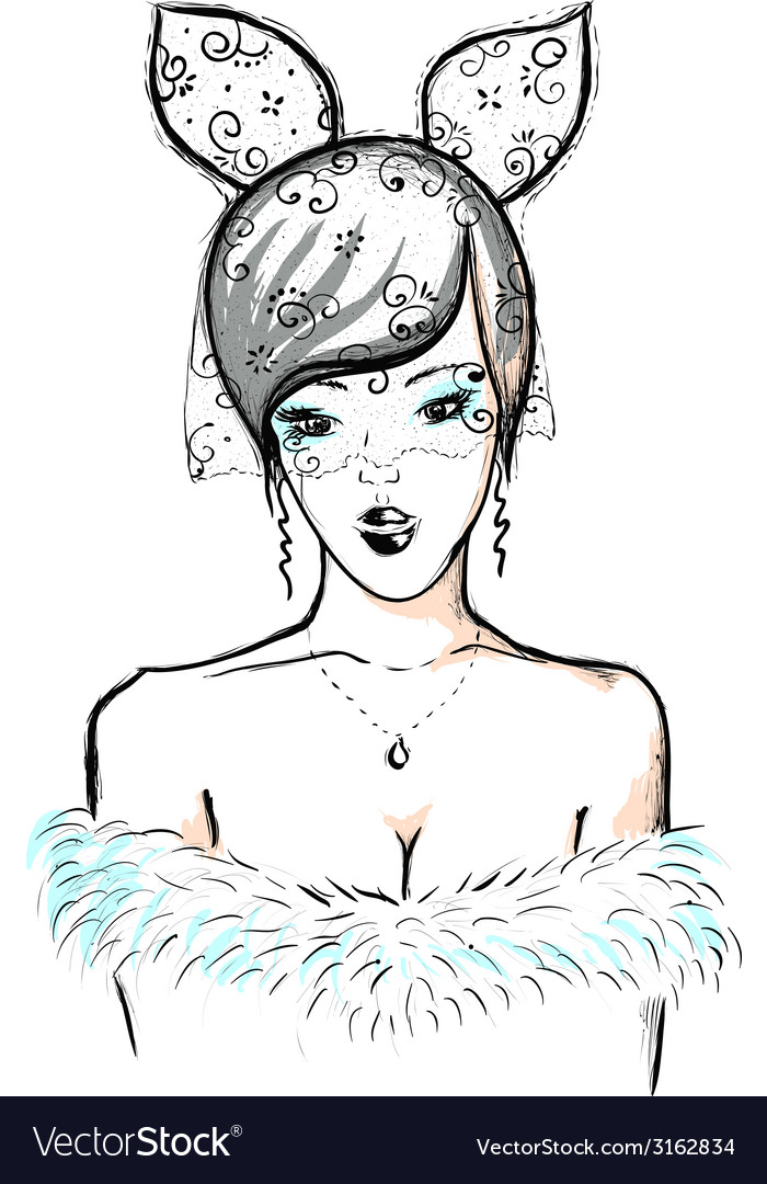 Young woman bunny ears and lace vector | Price: 1 Credit (USD $1)