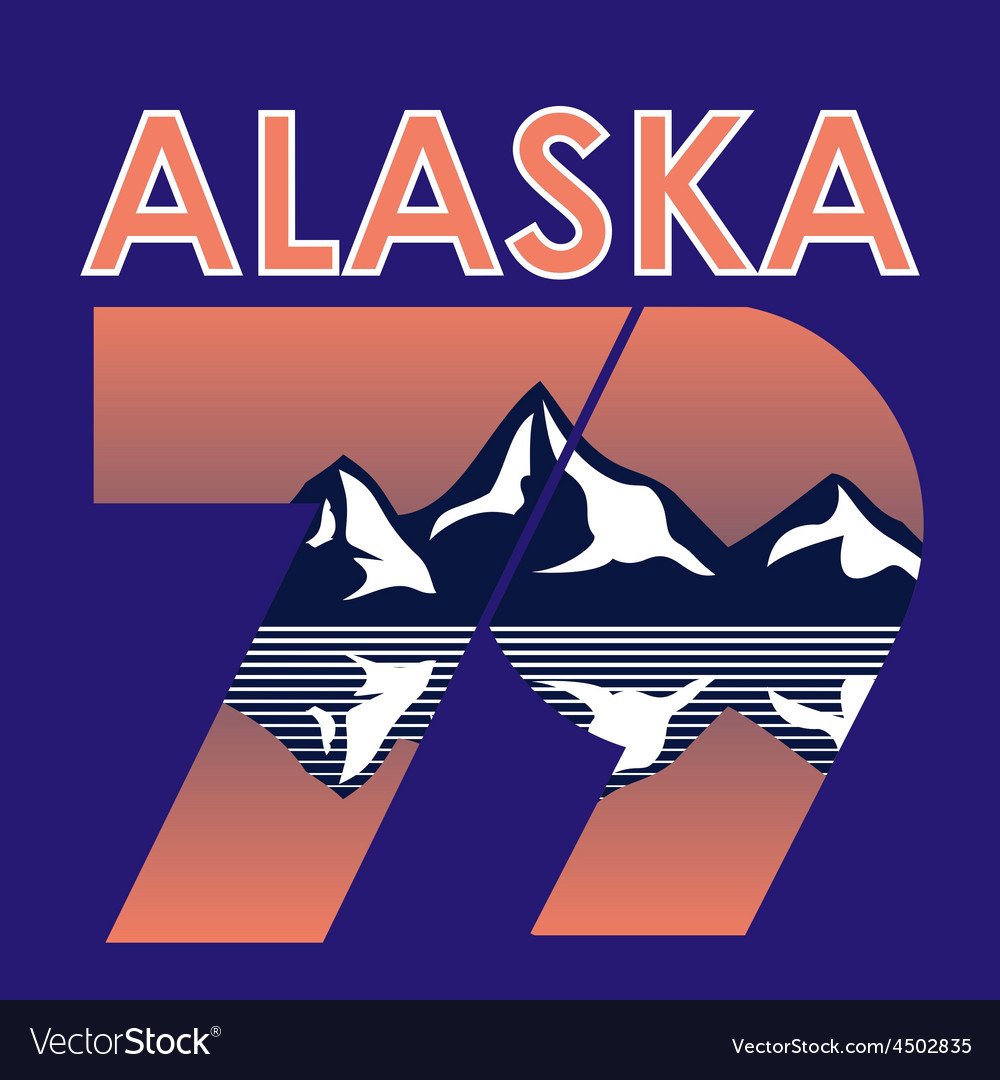 Alaska landscape 1979 t-shirt typography vector | Price: 1 Credit (USD $1)