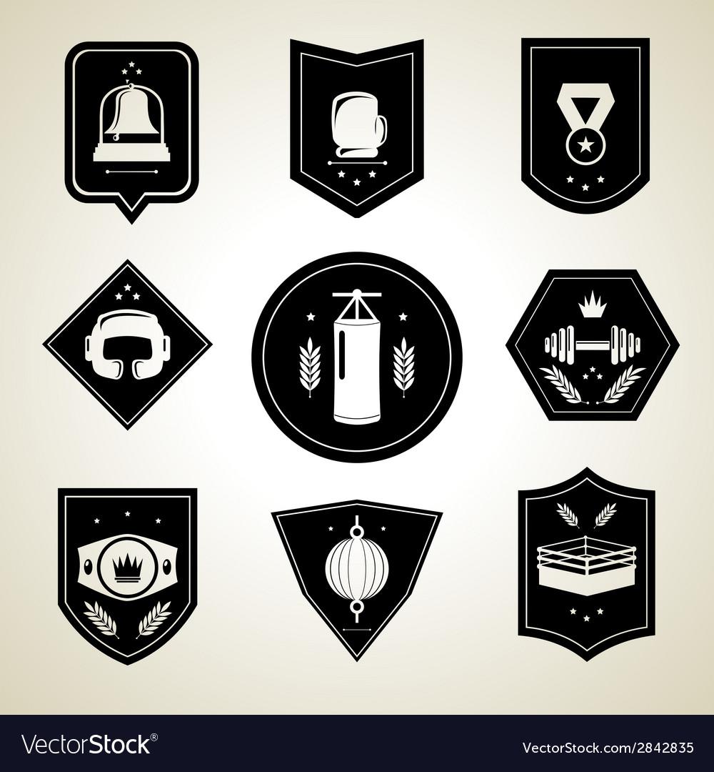 Boxing emblems set black vector   Price: 1 Credit (USD $1)