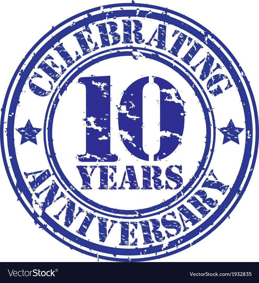 Celebrating 10 years anniversary grunge rubber sta vector | Price: 1 Credit (USD $1)