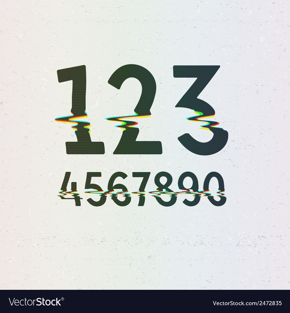 Cmyk print distortion digits vector | Price: 1 Credit (USD $1)