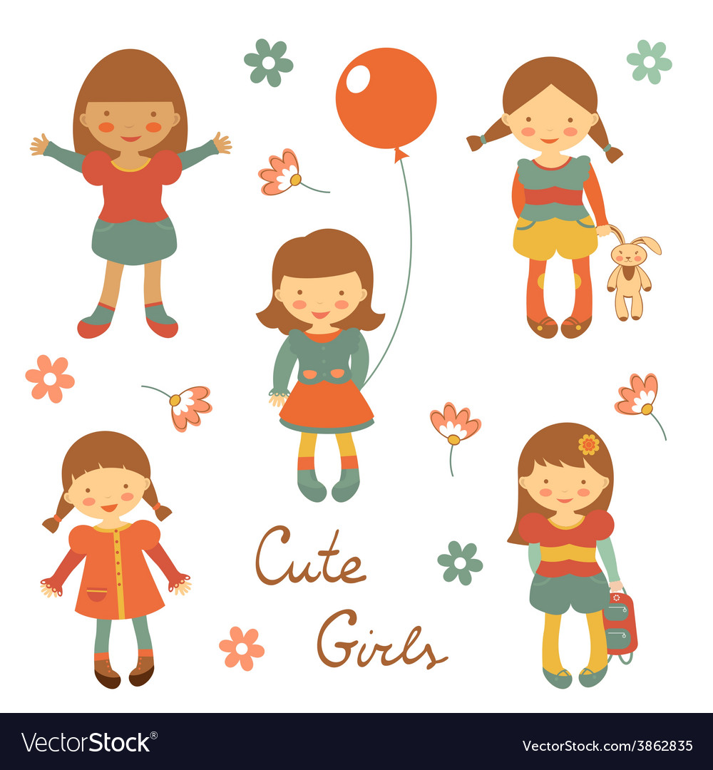 Cute little girls vector | Price: 1 Credit (USD $1)