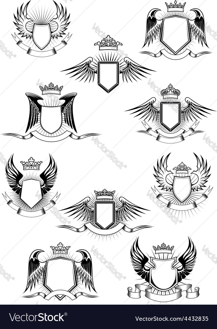 Heraldic winged shields with crowns and ribbon vector | Price: 1 Credit (USD $1)