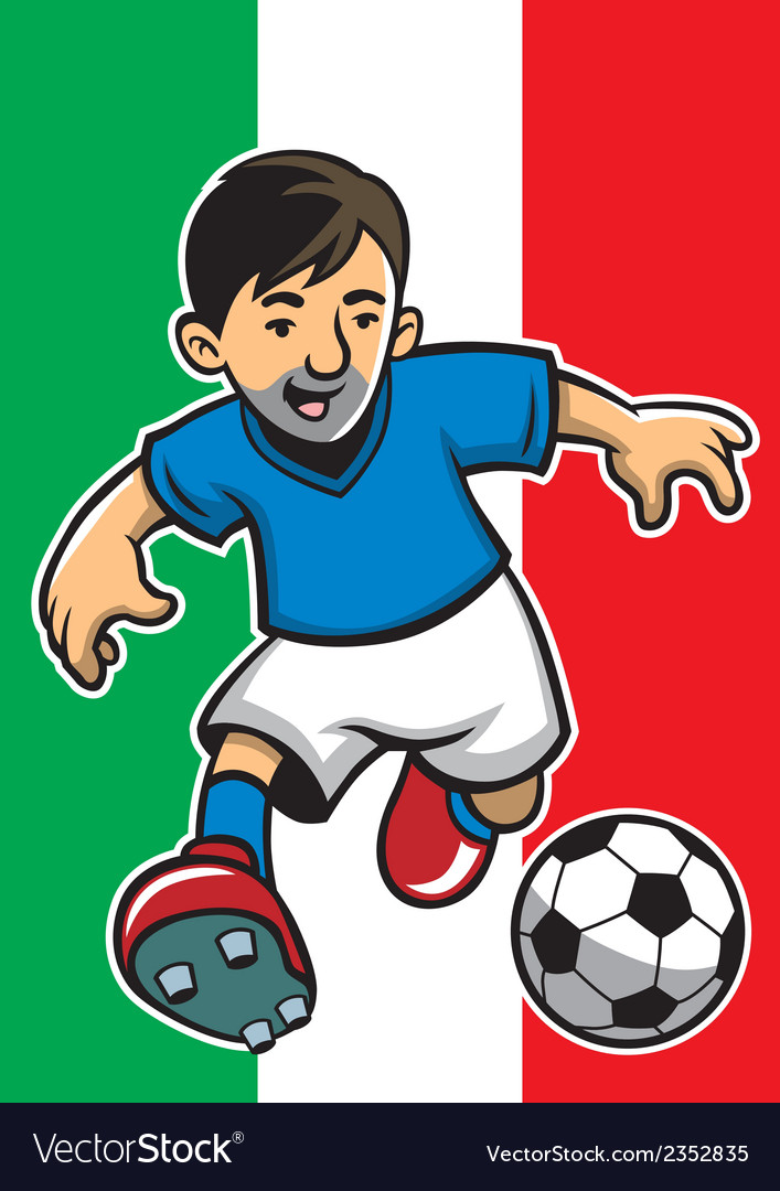 Italia soccer player with flag background vector | Price: 1 Credit (USD $1)