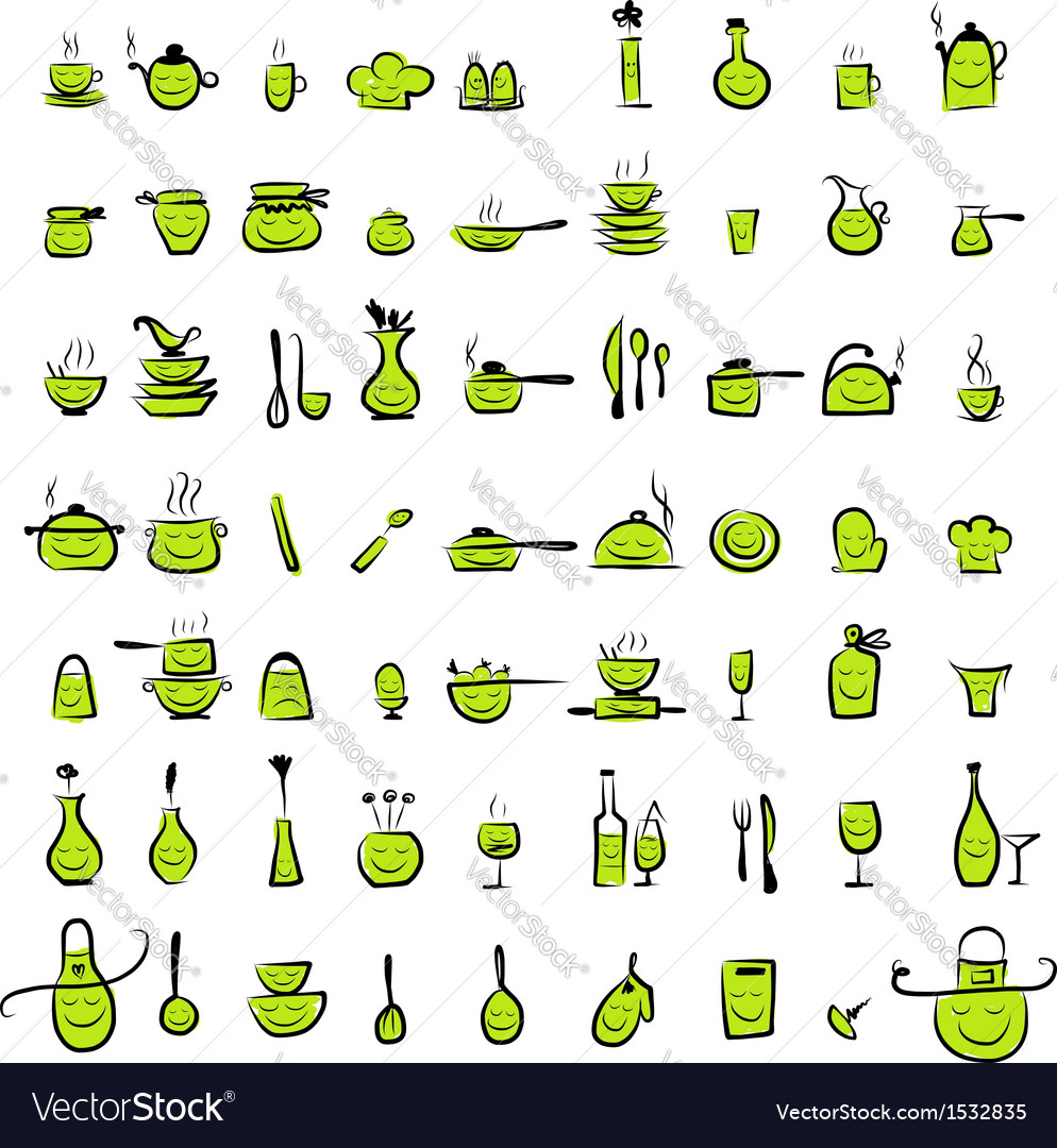 Kitchen utensils characters sketch drawing icons vector | Price: 1 Credit (USD $1)