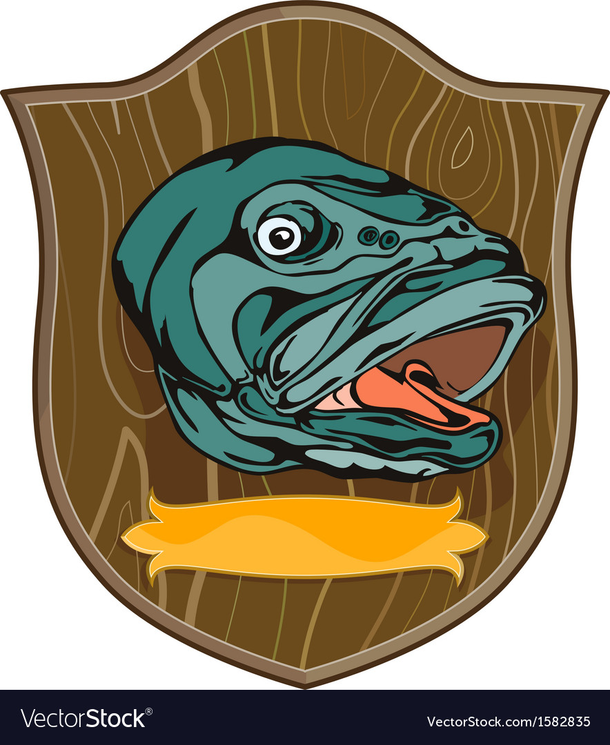 Largemouth bass on shield vector | Price: 1 Credit (USD $1)