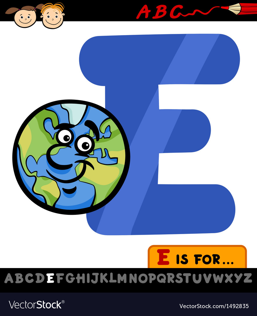 Letter e with earth cartoon vector | Price: 1 Credit (USD $1)