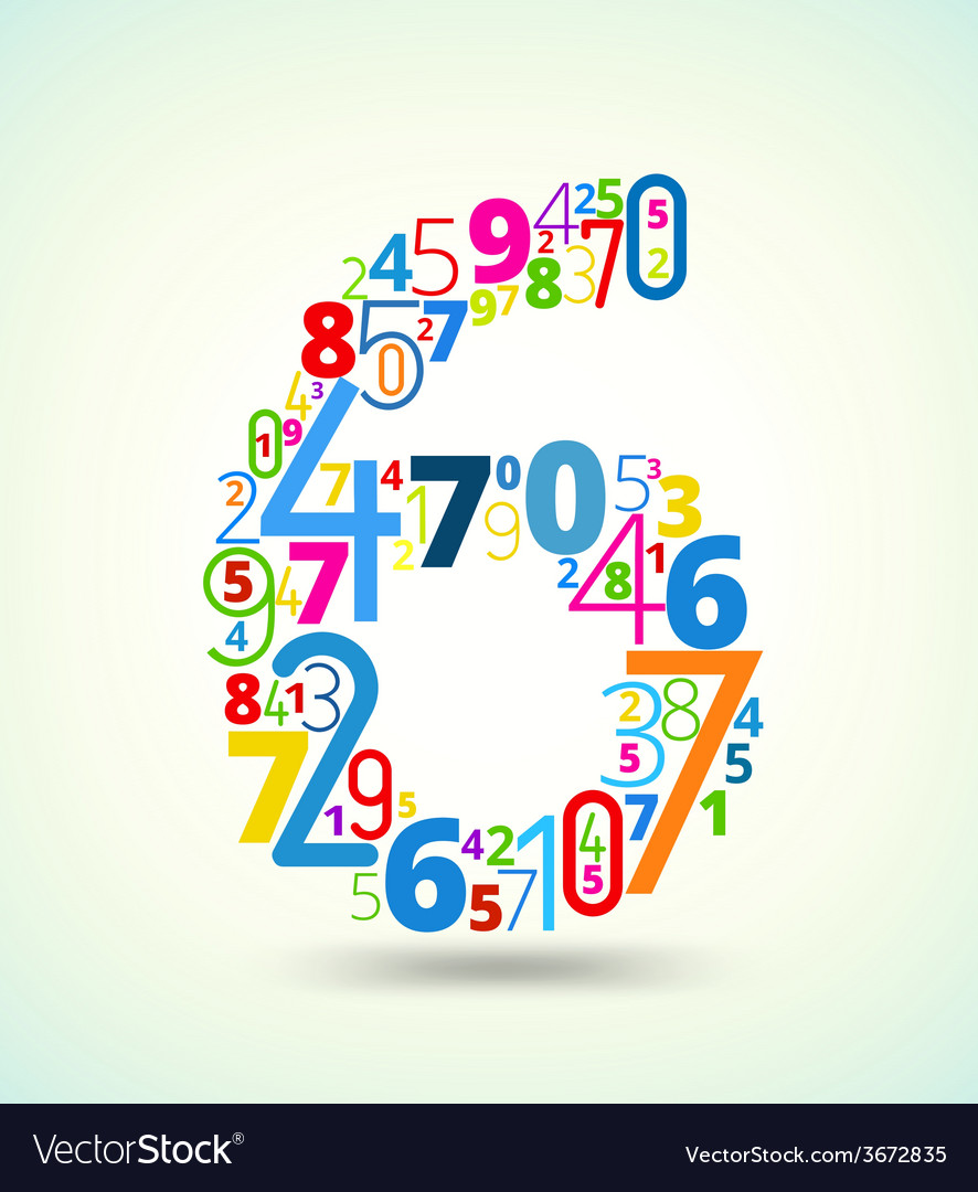 Number 6 colored font from numbers vector | Price: 1 Credit (USD $1)