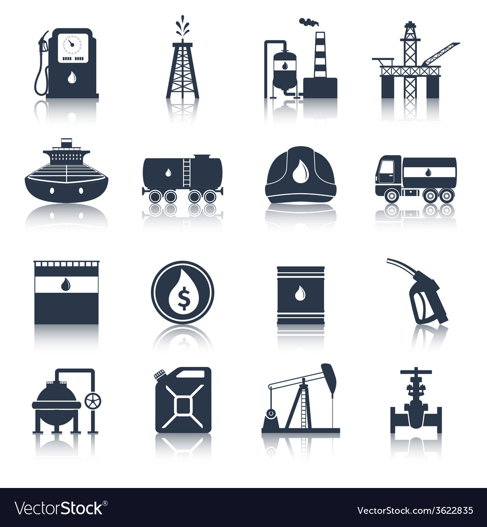 Oil industry icons black vector | Price: 1 Credit (USD $1)