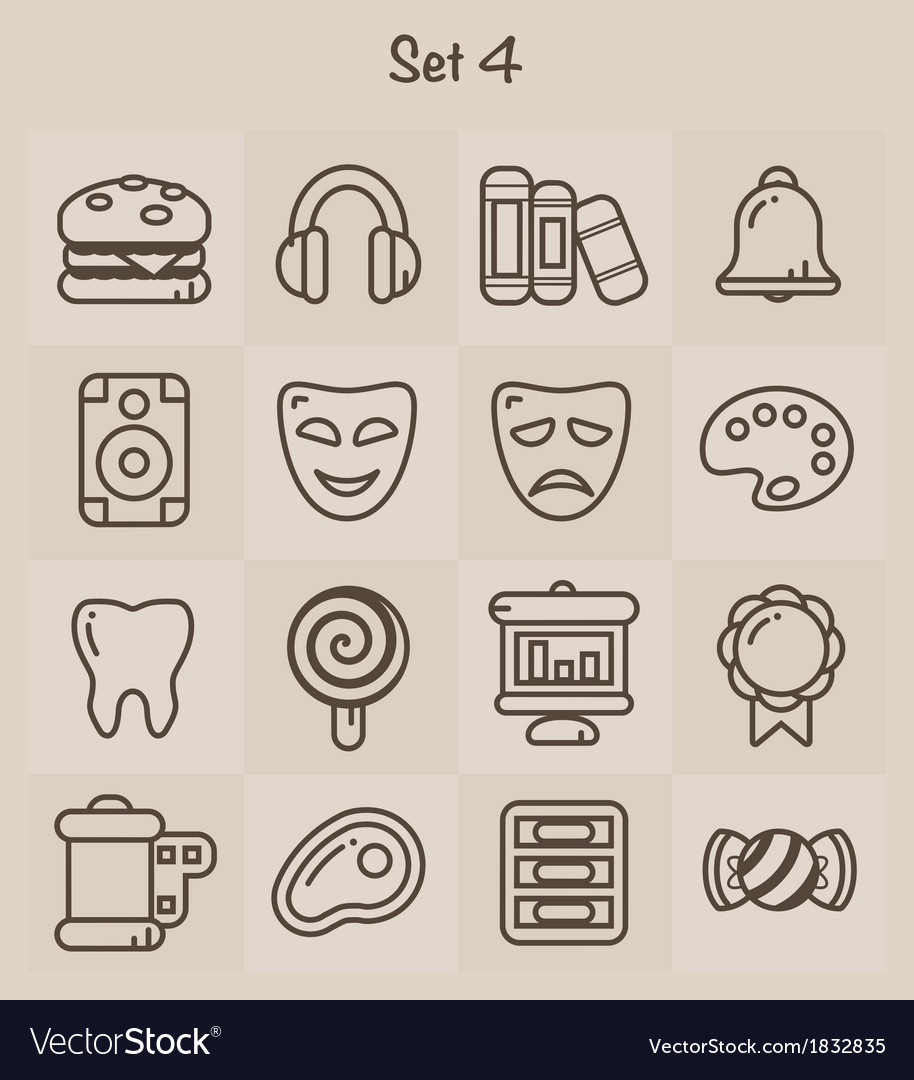 Outline icons set 4 vector | Price: 1 Credit (USD $1)